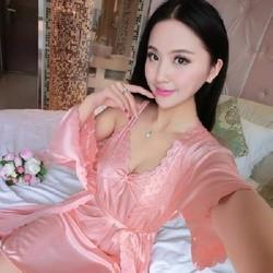 Váy Ngủ Kèm Áo Choàng Có Size To Cho Người 70kg VN90178