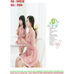 Sét mẹ và bé kiểu đầm xòe ren thắt nơ cổ xinh đẹp SME58