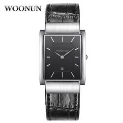 Đồng hồ dây da mặt chữ nhật Woonun AL93 ,