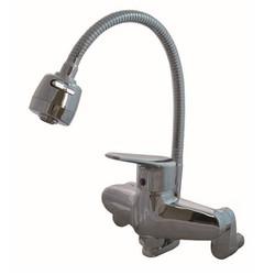 Vòi rửa bát cắm tường nóng lạnh cần mềm Gosky