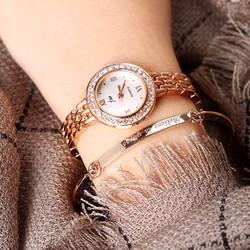 Đồng hồ dây mắt xích mặt tròn đính đá thời trang WH-JW8086