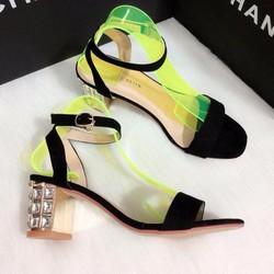 Giày Sandal gót vuông đính đá cao cấp