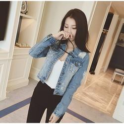 Áo khoác Jean nữ rách vai và tay
