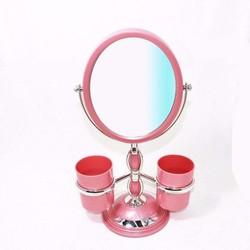 Gương trang điểm để bàn 360 độ kèm cốc