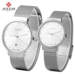 TUYỆT ĐẸP Đồng hồ cặp Julius JU1052  siêu mỏng Bạc