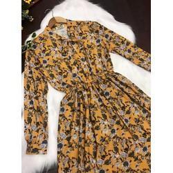 Đầm xoè Hoa tay dài cổ cột nơ xinh xắn