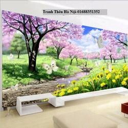 Tranh thêu chữ thập vườn hoa H0768-151*83cm