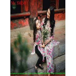 Sét mẹ và bé áo dài cách tân hình hoa hống dễ thương SME45