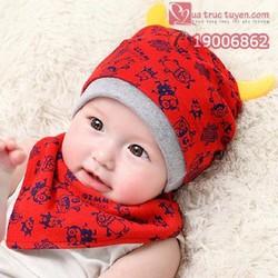 Bộ khăn mũ nỉ trẻ em- cặp sừng