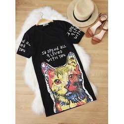 Đầm thun in hình mèo