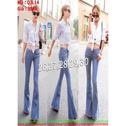 Quần jean nữ ống suông xanh nhạt hàng jean cao cấp QJL14