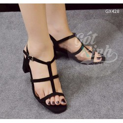 Giày sandal gót vuông 3 quai ngang 5 phân đen-GX428