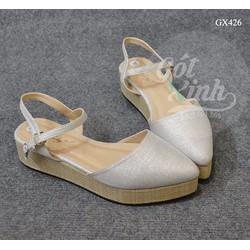 Giày sandal đế cói bít mũi nhọn màu trắng bạc-GX426