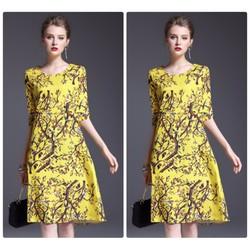 Đầm xòe họa tiết hoa cao cấp