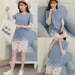 Đầm suông phối ren phong cách Hàn - hàng nhập Quảng Châu