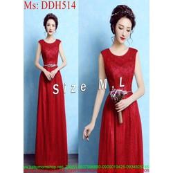 Đầm dạ hội xòe nhẹ màu đỏ sang trọng đính hoa xinh đẹp DDH514