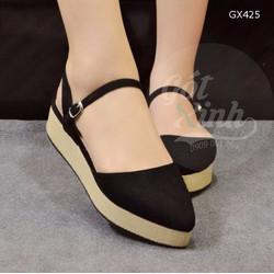 Giày sandal đế cói bít mũi nhọn màu đen-GX425