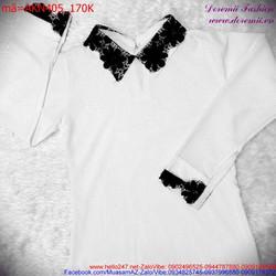 Áo kiểu nữ tay dài cổ peter phối ren xinh xắn dễ thương AKN405