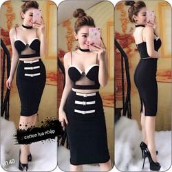 Set áo croptop phối váy ôm viền màu sexy YL25