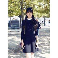 Đầm xòe đen phối cổ trắng siêu cute - 06031130