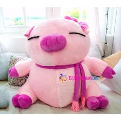 Gấu bông heo hồng đeo khăn nhồi bông dễ mến size 1 mét