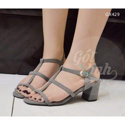 Giày sandal gót vuông 3 quai ngang 5 phân xám-GX429