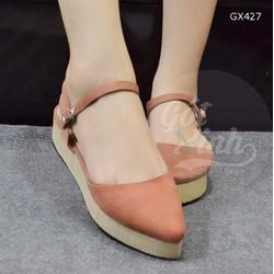 Giày sandal đế cói bít mũi nhọn màu hồng đất-GX427