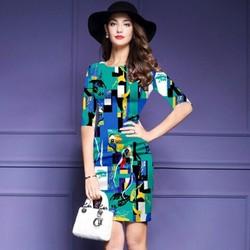 Đầm cao cấp in 3D xanh ngọc