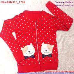 Áo chấm bi tay dài in hình mèo xinh xắn dễ thương AKN412