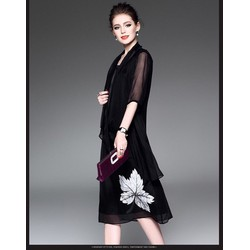 Đầm suông in hoạ tiết chiếc lá - hàng nhập