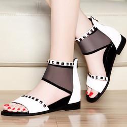 Giày Sandal đế bệt nữ phối lưới cổ cao - LN1136