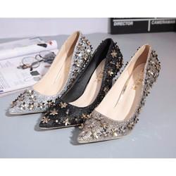 Giày cao gót nữ thiết kế  đính kim sa kiểu sang trọng - GD011445775