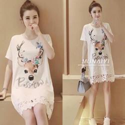 Đầm suông họa tiết chân ren - hàng nhập Quảng Châu cao cấp