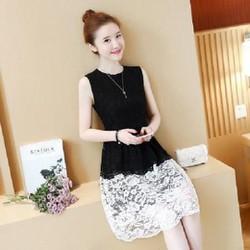Đầm ren phối màu đen trắng xinh xắn - hàng nhập Quảng Châu
