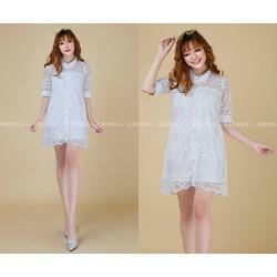 Đầm suông ren nơ _MỎ CHU SHOP