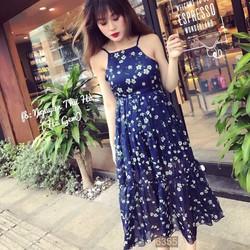 Đầm Maxi voan yếm họa tiết