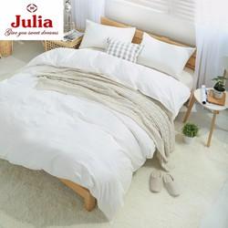 Bộ ga gối cotton satin Ai Cập Julia trắng trơn