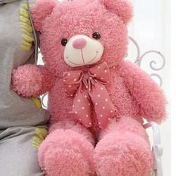 Gấu bông Teddy lông xù hồng 80cm