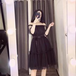 Đầm xoè lưới trễ vai _MỎ CHU SHOP
