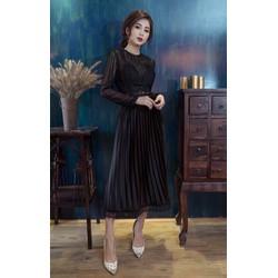 Đầm maxi ren phối dập li _MỎ CHU SHOP