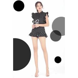 Set áo sơmi chân váy bi _MỎ CHU SHOP