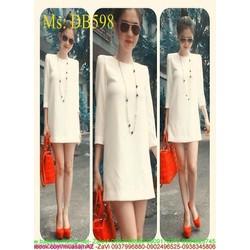 Đầm bầu công sở dài tay màu trắng trẻ trung xinh đẹp DB598