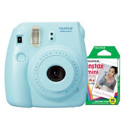 Bộ máy ảnh lấy liền Fujifilm Instax Mini 8 xanh và phim chụp 10 tấm