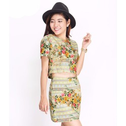 Set Áo Và Chân Váy Hoa Style - Vàng