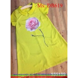 Đầm bầu công sở tay con hình hoa hồng xinh đẹp dễ thương DB619