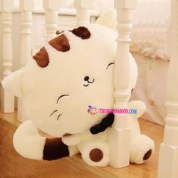 Gấu bông mèo Meng Meng trắng nhồi bông size nhỏ 30 cm