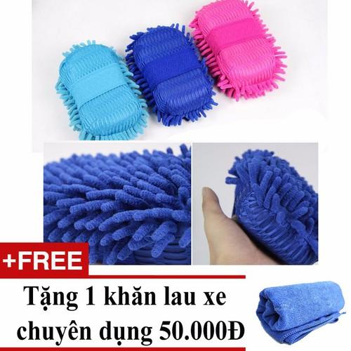 Găng tay rửa xe mẫu 2 cho ô tô + Tặng 01 khăn lau xe chuyên dụng