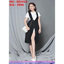 Sét áo kiểu tay con phối váy dạng yếm thời trang SEV414
