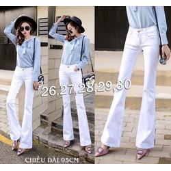 Quần jean trắng lưng cao 1 nút ống loe cao cấp - QD244
