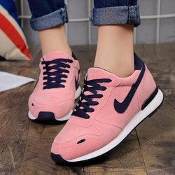 giày thể thao nhung phối màu thắt dây